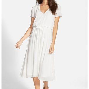 Nordstrom Wayf white blouson midi dress Sz S